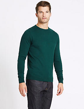 Cotton Blend Textured Crew Jumper