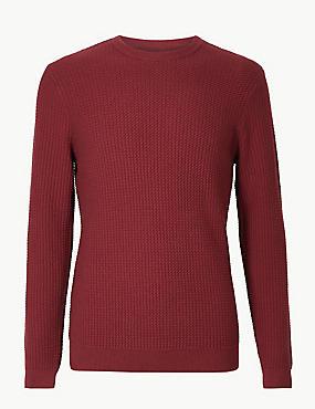 Pure Cotton Textured Jumper, DARK CLARET, catlanding