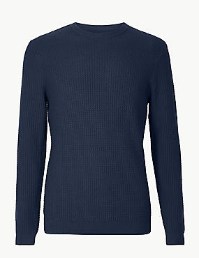 Pure Cotton Textured Jumper, INDIGO, catlanding