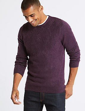 Supersoft Textured Crew Neck Yoke Jumper, PURPLE, catlanding
