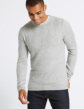Supersoft Textured Crew Neck Yoke Jumper, SILVER GREY, catlanding