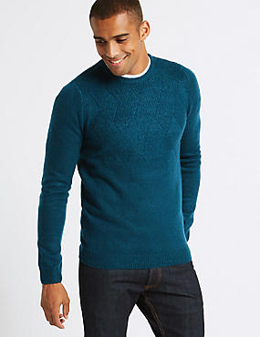 Supersoft Textured Crew Neck Yoke Jumper, TEAL, catlanding