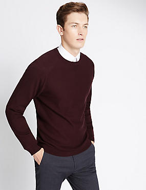 Cotton Blend Tailored Fit Crew Neck Jumper