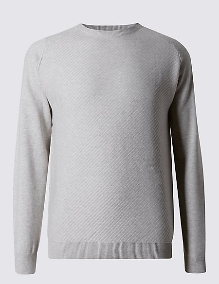 Cotton Rich Textured Tailored Fit Jumper
