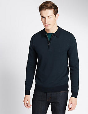 Pure Cotton Tailored Fit Polo Jumper