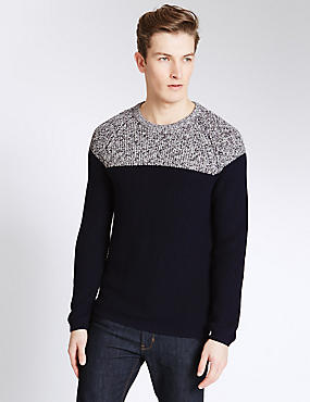 Cotton Blend Twisted Crew Neck Jumper
