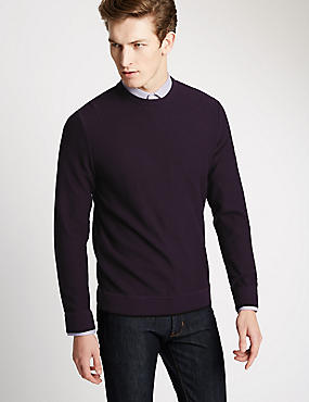 Pure Cotton Tailored Fit Crew Neck Jumper