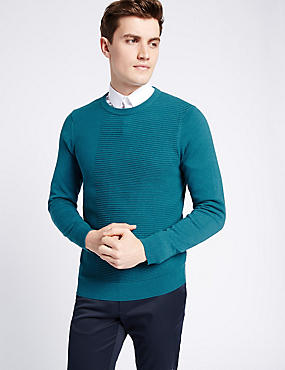 Cotton Blend Textured Slim Fit Jumper