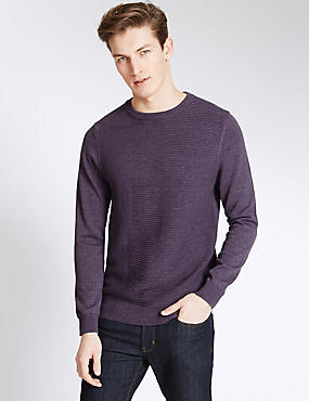Cotton Blend Textured Crew Neck Jumper