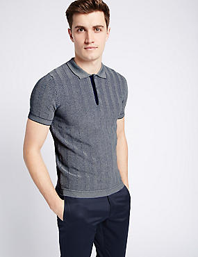 Pure Cotton Textured Slim Fit Polo Shirt