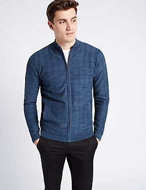 Pure Cotton Herringbone Slim Fit Jumper