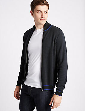Pure Cotton Slim Zipped Through Cardigan
