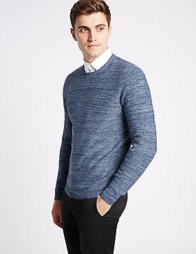 Pure Cotton Textured Slim Fit Jumper