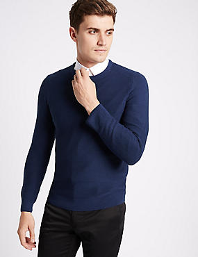 Cotton Blend Textured Slim Fit Jumpers