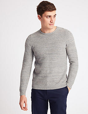 Pure Cotton Textured Twist Slim Fit Jumper, ECRU MIX, catlanding