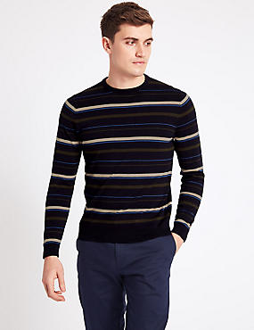 Pure Cotton Striped Slim Fit Jumper