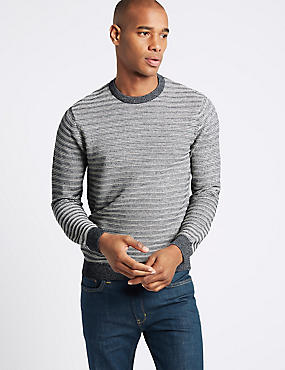 Cotton Rich Striped Slim Fit Jumpers