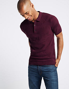 Pure Cotton Leaf Design Knitted Slim Fit Polo, , catlanding