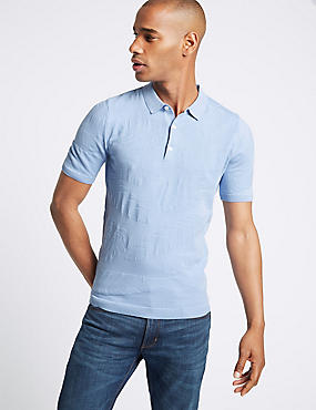 Pure Cotton Leaf Design Knitted Slim Fit Polo, BLUE, catlanding