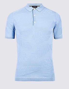 Pure Cotton Textured Slim Fit Polo, BLUE, catlanding