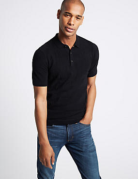 Pure Cotton Leaf Design Knitted Slim Fit Polo, NAVY, catlanding