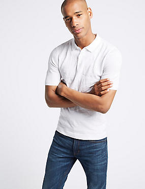 Pure Cotton Leaf Design Knitted Slim Fit Polo, SOFT WHITE, catlanding