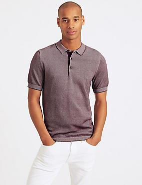 Pure Cotton Textured Slim Fit Polo, DARK WINE, catlanding