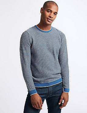Pure Cotton Textured Jumper, BLUE MIX, catlanding