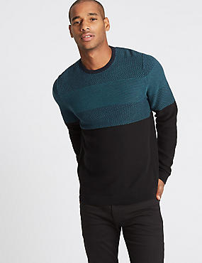 Pure Cotton Textured Slim Fit Jumper, TEAL MIX, catlanding
