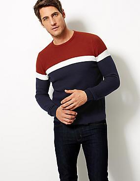 Pure Cotton Textured Slim Fit Jumper, RED MIX, catlanding