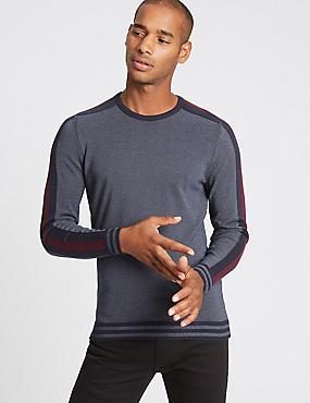 Cotton Rich Striped Slim Fit Jumper, NAVY MIX, catlanding