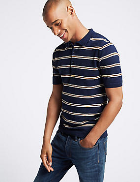 Pure Cotton Striped Knitted Slim Fit Polo, NAVY MIX, catlanding