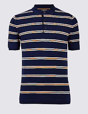 Pure Cotton Striped Knitted Slim Fit Polo