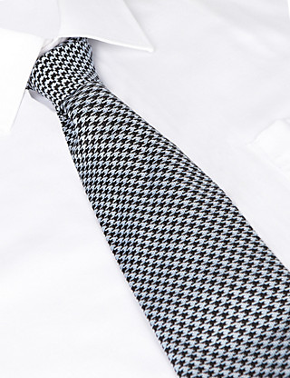 Best of British Dogtooth Silk Tie Clothing