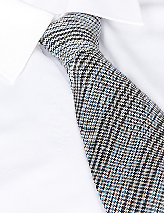 Best of British Dogtooth Striped Silk Tie Clothing