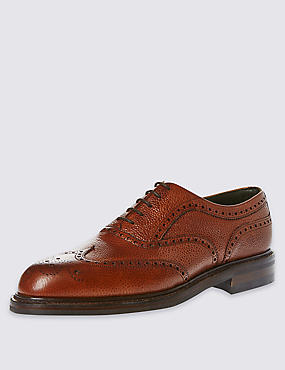 Classic Country Brogue in Tan Scotchgrain Leather