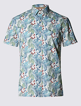 Hand Drawn Printed Short Sleeve Shirt