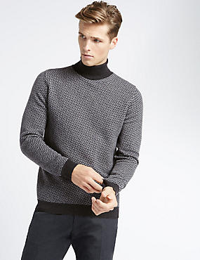 Cashmere Step-Texture Roll Neck Jumper
