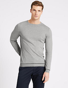 Supima® Cotton Long Sleeve Knitted Crew Neck
