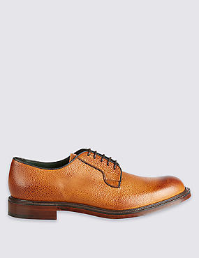 Luxury Derby Shoe in Tan Scotchgrain Leather