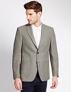 Wool Blend Tailored Fit 2 Button Jacket with Linen