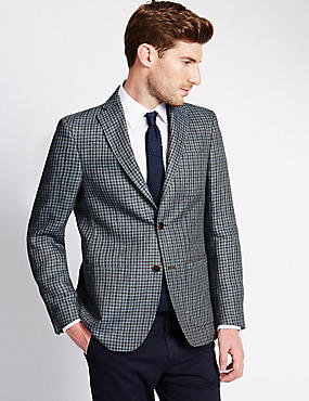 Pure Linen Tailored Fit 2 Button Check Jacket