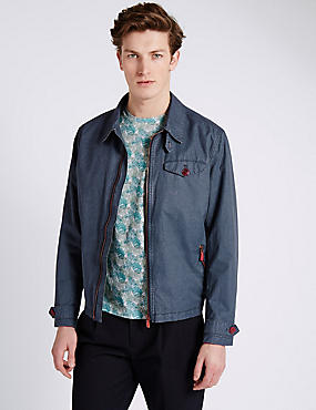 Chest Pocket Washed Harrington Jacket