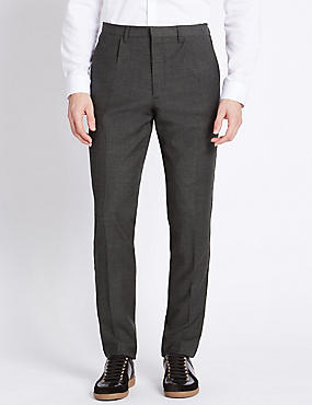 Pleat Front Trouser With Side Seam Detail