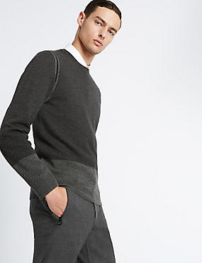 Textured Colour Block Merino Jumper