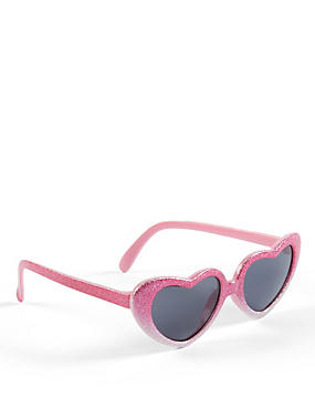 Kids' Heart Glitter Sunglasses (Younger Girls)