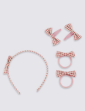 Kids' 3 Piece Gingham Bow Set