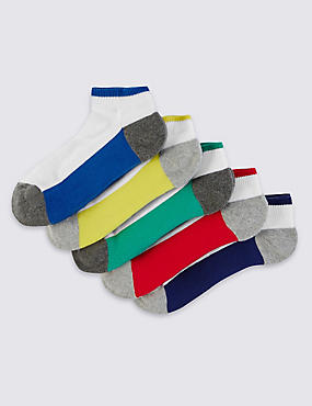 5 Pairs of Freshfeet™ Cotton Rich Colour Block Trainer Liners Socks (5-14 Years)