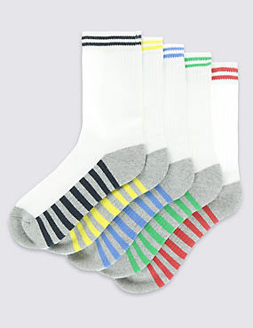 5 Pairs of Freshfeet™ Cotton Rich Sports Socks (3-14 Years)