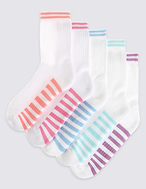 5 Pairs of Cotton Rich Sports Socks with Freshfeet™ (3-14 Years)